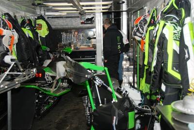 Inside the race trailer