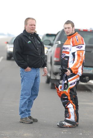 Dwight Christian (left) and Cory Davis, moments after Cory quit because of a failed track