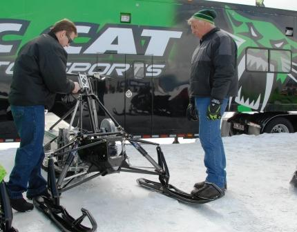 Al (right) explaining to Dan Skallet the finer points of the new ProCross chassis