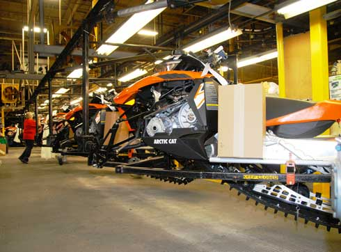Arctic Cat XF1100 on the assembly line