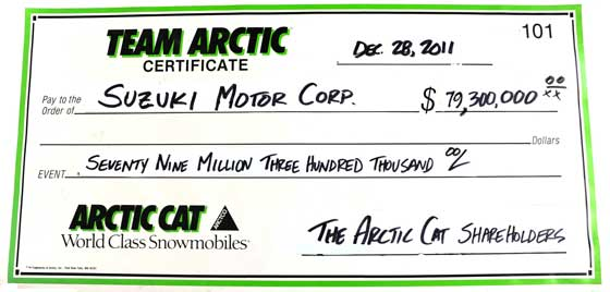Was it a cash deal, or did Arctic Cat write a check?