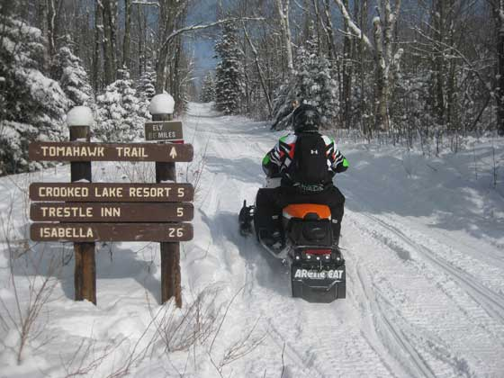 Heading onto the Tomahawk Trail on the Arctic Cat sleds