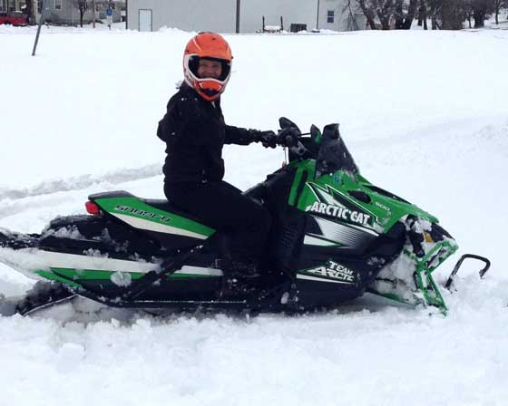 Jolene Bute makes track on an Arctic Cat Sno Pro in May 2013
