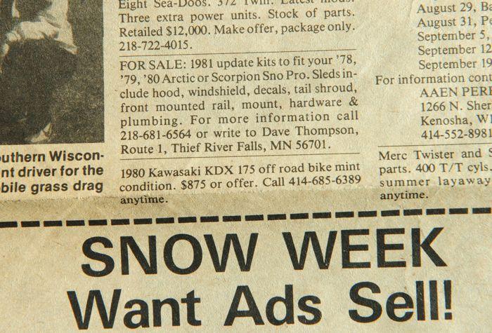 Snowmobile classified ad in Snow Week circa 1982