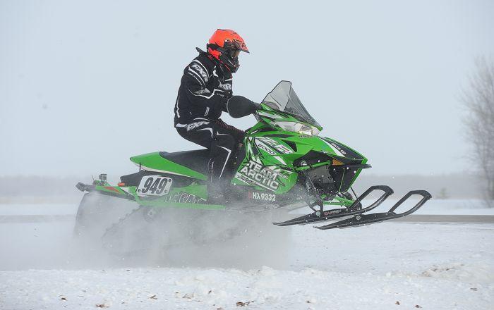 Richard Hanson on an Arctic Cat at the I-500