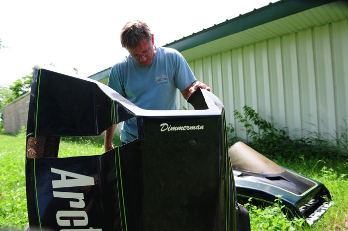 Jim Dimmerman checks out a Team Arctic Sno Pro hood with his name.