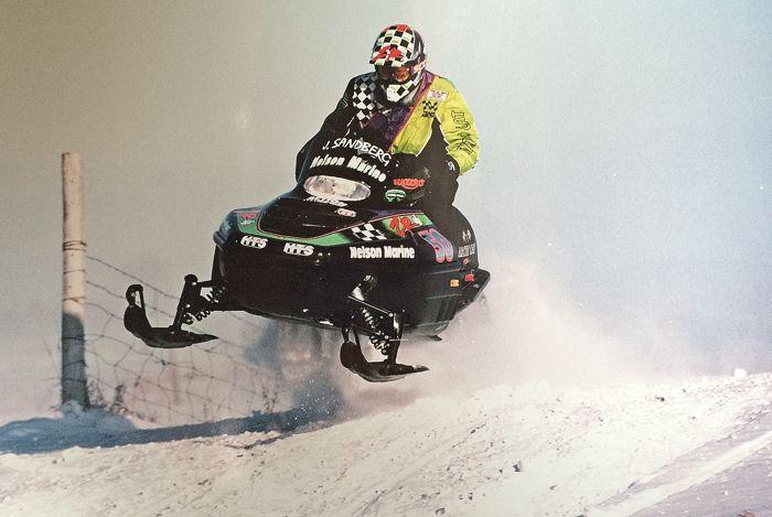 John Sandberg racing the ISOC Ironman 250 in 1994. Photo by Walton.