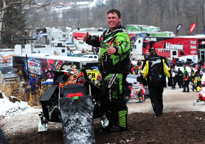 Fan-favorite Nate Ewing and his 1995 Arctic Cat EXT snocrosser.