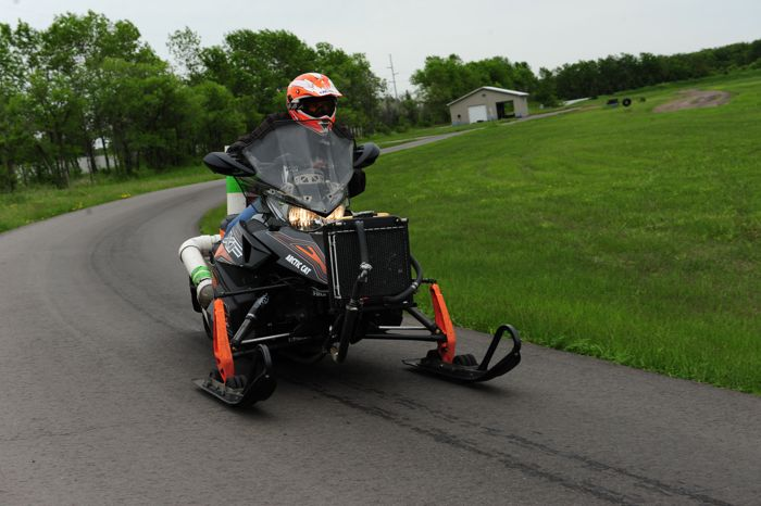 Arctic Cat engineer Bart Magner on the company test track. Photo by ArcticInsider.com