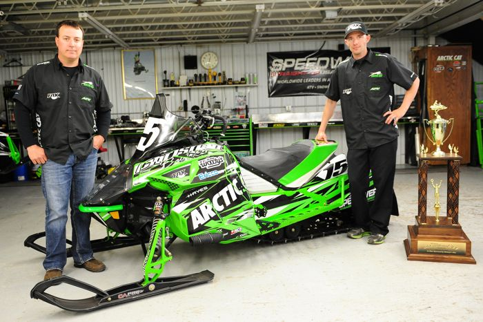 Team Arctic's Brian Dick and Wes Selby with 2015 Soo 500 sled. Photo by ArcticInsider.com