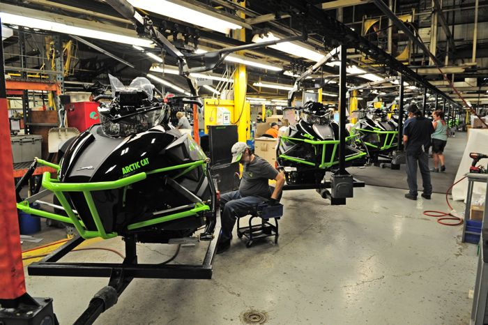 2017 Arctic Cat XF High Country on assembly line. Photo ArcticInsider.com