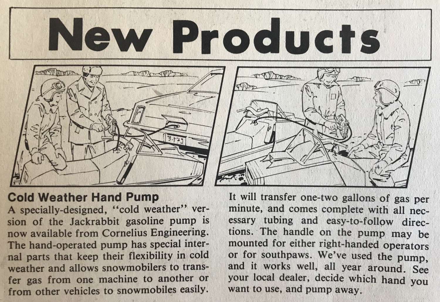 Cold weather hand pump for...snowmobiles?