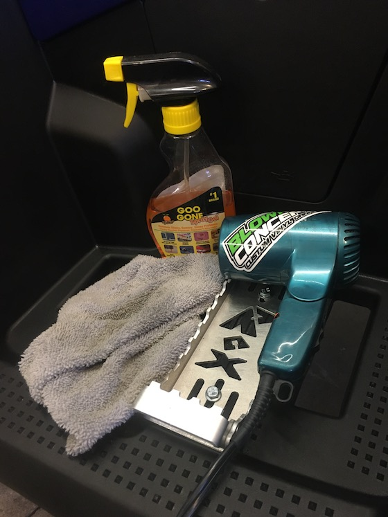 Three tools for sticker removal: 1.Hair Dryer 2. Goo Gone 3. Terry Cloth