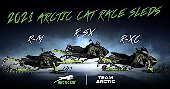 Three new 2021 Team Arctic race snowmobiles