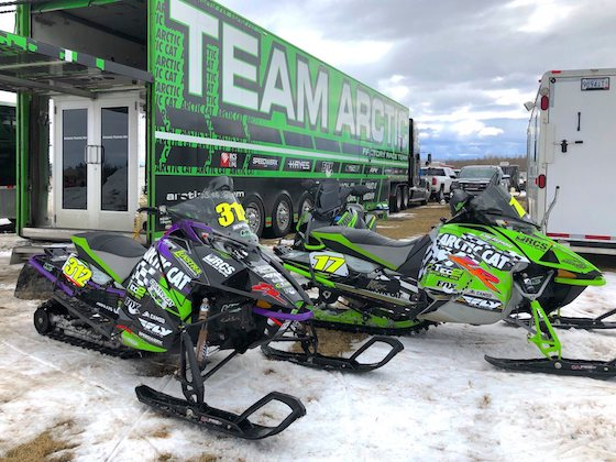 Zach and his teammate David Brown's XCs sitting outside the Factory trailer. Check out those Mid 90s ZR retro graphics!