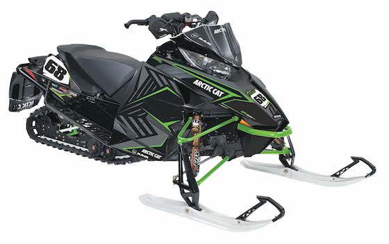 A Stock Image taken by Arctic Cat of the 2015 ZR6000 Tucker Hibbert Race Replica. This unit was designed with white number plates, but by production rolled around, Tucker had wrapped up the National Snocross Championship and number plate backgrounds were changed to Red.