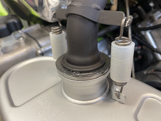 """The Blast has new """"rubber"""" vibration dampeners on the exhaust pipe springs"""