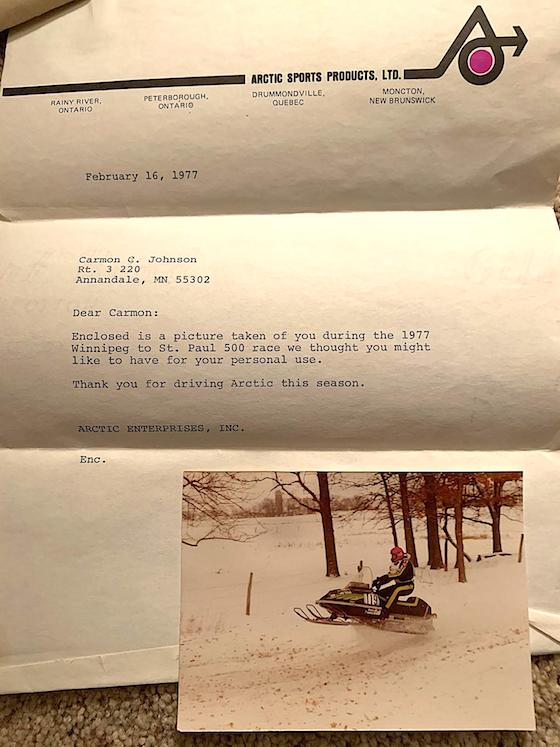 A letter from Arctic Cat sent to Carmon after racing the 1977