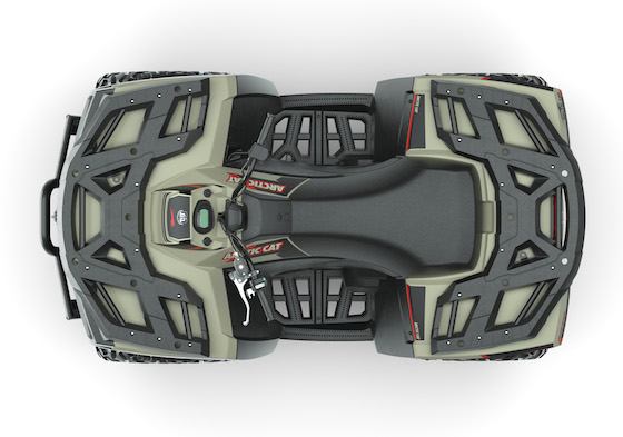 Overhead look at Alterra 600 LTD with overmolded front and rear racks and spacious footwells
