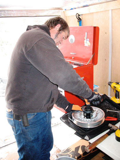 Kirk Hibbert working the driven clutch