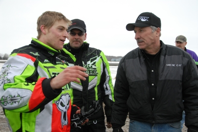 Talking with his dad, Russ Ebert, after winning the I-500