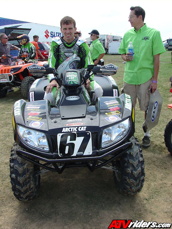 Daryl Rath (seated) with Chris Evans (R) who was race technician and part of Arctic Cat engineering team. Chris is still an instrumental part of off-road development today for AC.