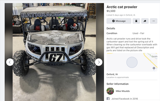 The 2007 Rath Racing Prowler as appeared on Facebook Marketplace