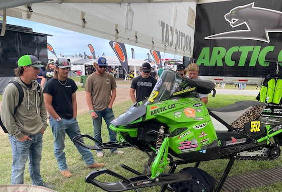 Matt Feil (L) had one of his SOO I500 mods on display. Every time he fired it up, the ring of those twice pipes drew in onlookers. Follow Matt and Ross Erdman this winter!